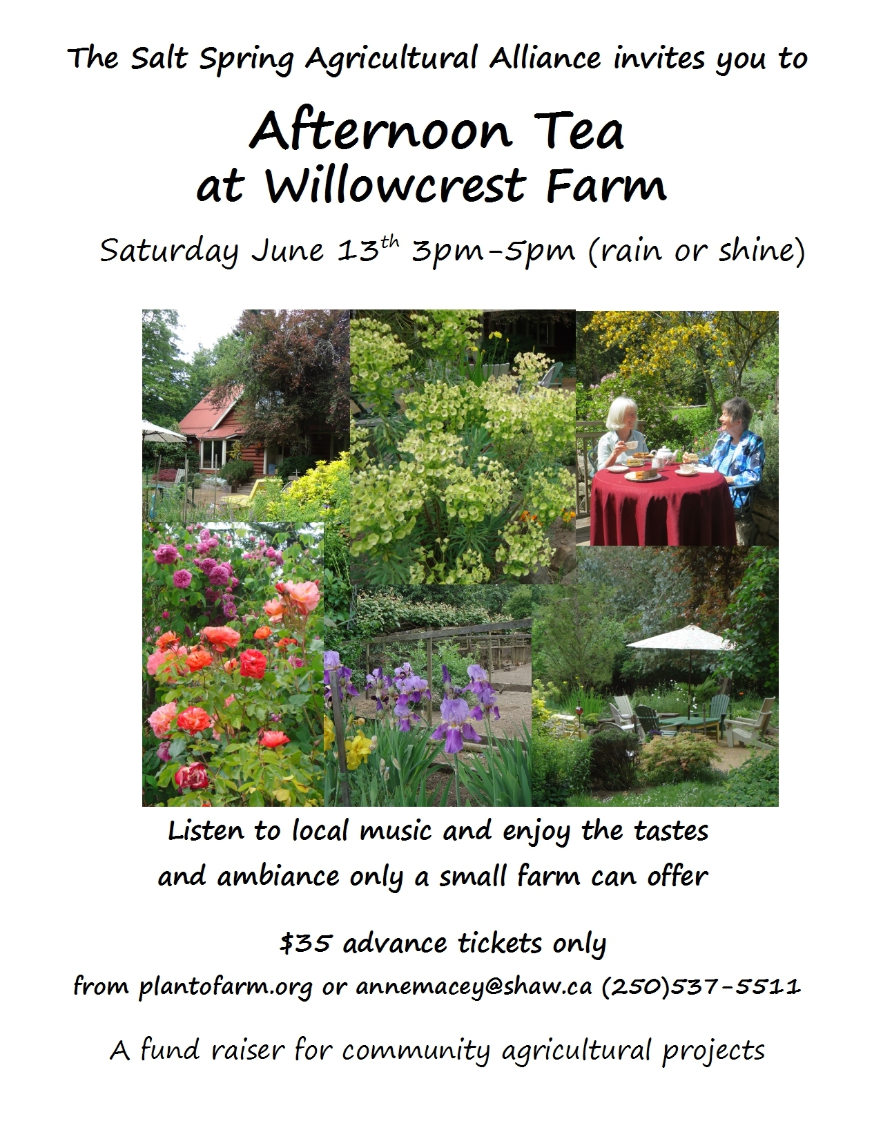Tea at Willowcrest Farm 13th June - a few tickets still available